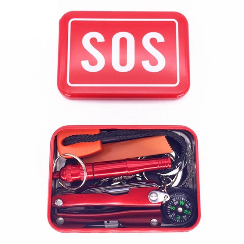 Жесть пустая коробка чехол крышка контейнера для выживания Шестерни Наборы комплект Коробки таблетки первой помощи хранения SOS Красный Кре...