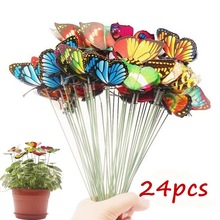 Outdoor-Decor Planter Flower Butterfly Stakes Garden Yard Bunch of Whimsical Colorful