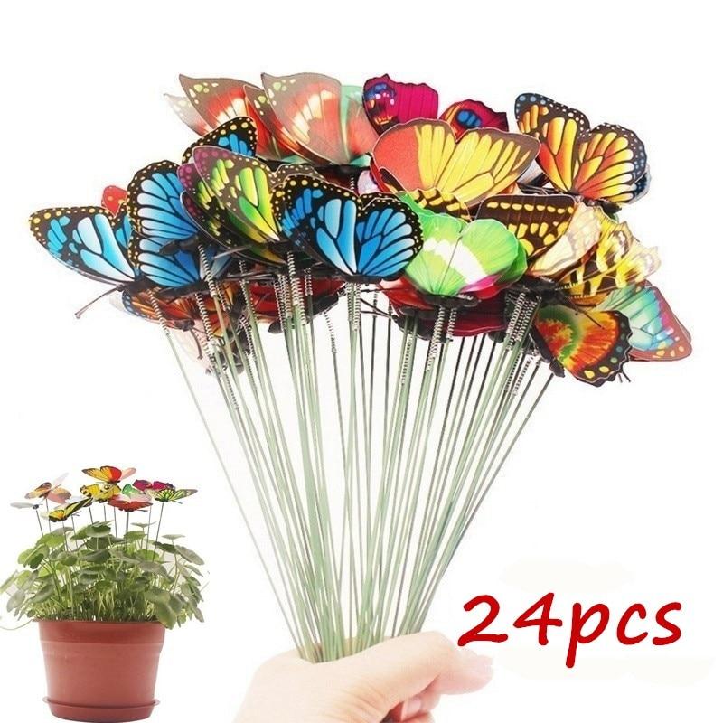 Ev ve Bahçe'ten Dekoratif Direkler ve Rüzgar Fırıldakları'de Demet kelebekler bahçe Yard ekici renkli kaprisli kelebek kazık Decoracion açık dekor saksı dekorasyon title=