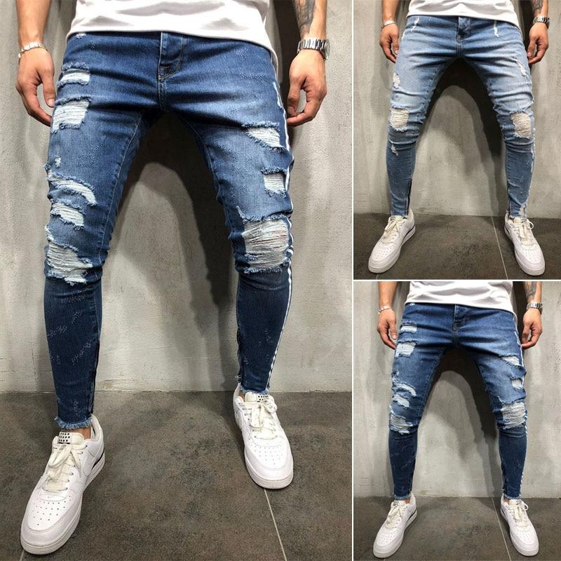 Men Stretchy Ripped Skinny Destroyed Jeans Taped Patch Slim Denim Blue Jean Pants Side Strip Slim Fitn Korean Men Ripped Jeans