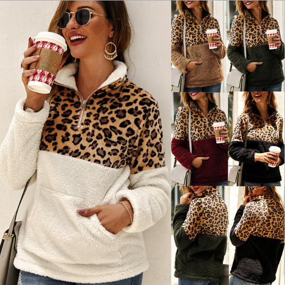 Women Fleece Sweatshirt Winter Casual Faux Fur Leopard Patchwork Fluffly Female Hoodies Warm Turtleneck Zipper Thick Sherpa Tops
