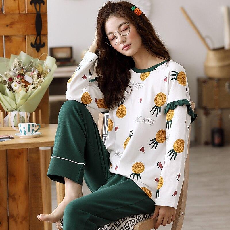 Woman Pajamas Sets Fashion Pajamas Autumn Winter Women Cotton Pajama Sets Cartoon Home Wear Suits Long Sleeves Pajamas for FemalPajama Sets   -