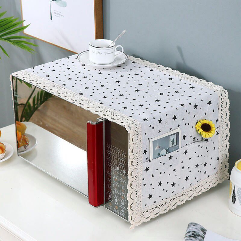 MicrowaveCover Kitchen Lacer Cotton Protector Oil Dust Waterproof with Double Pockets Kitchen Accessories Home Decoration