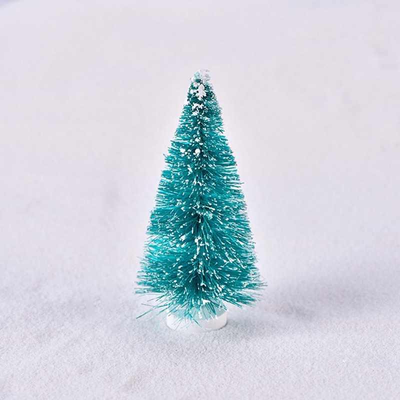 2 piezas pequeño DIY árbol de Navidad falso Pino Mini Sisal botella cepillo árbol de Navidad Santa nieve escarcha Casa de Pueblo