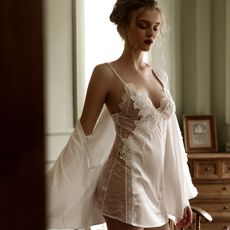 High-grade Embroidered Lace Sexy Lingerie Strap Nightdress Perspective Sleepwear Women Night Gown Nightgowns Women Nightwear