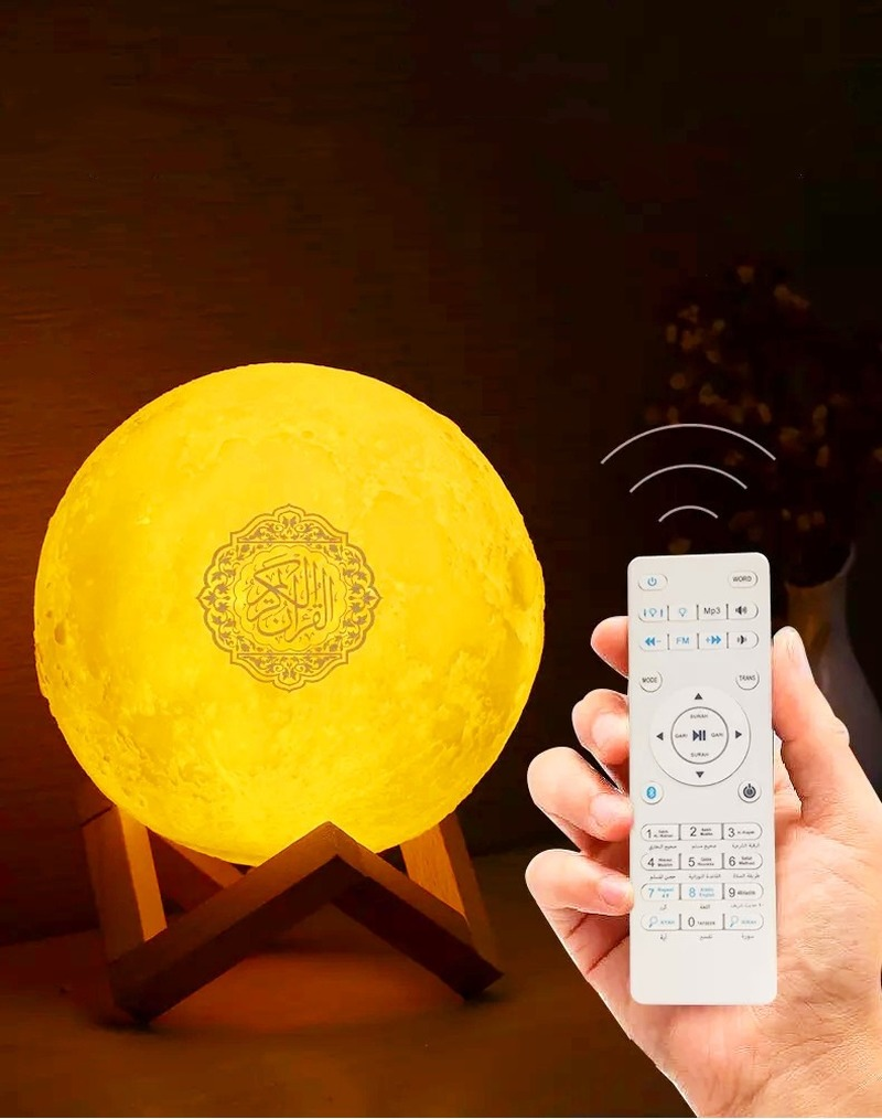 2019 New 3D Print Quran Moon Lamp Wireless Bluetooth Quran Speaker LED Night Light Home Deor Desk Table Lamps Adult Gift