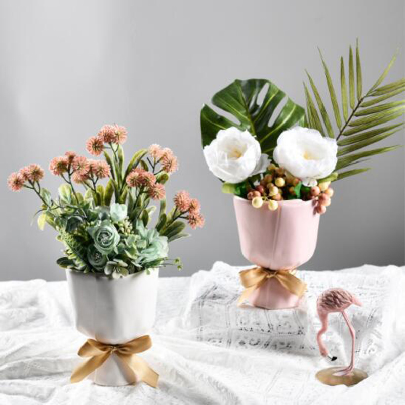 Ceramics Vase Home Decor Flower Pot Room Decor Flower Vase Modern European Style Bouquet Modeling Garden Decoration Ornaments Just6F
