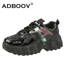 ADBOOV Patent Leather Sneakers Women Low Top Casual