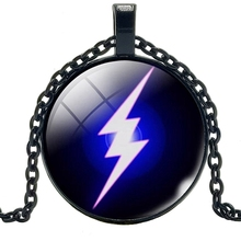 2019 New Movie Surrounding Blue Lightning Necklace Jewelry Pendant Crystal Convex Round Glass Gift