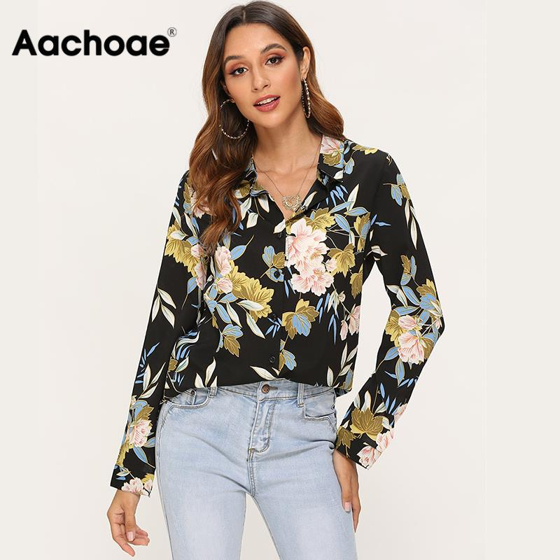 Vintage Floral Printed Blouse Women Long Sleeve Casual Shirt Blouse Turn Down Collar Plus Size Office Tops For Ladies Blusas