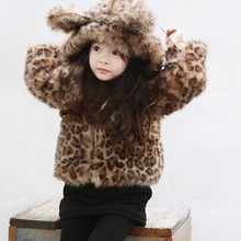 Winter Baby Toddler Girls Coat Leopard Faux Fur Hooded Thickness Jacket Kids Coat M140