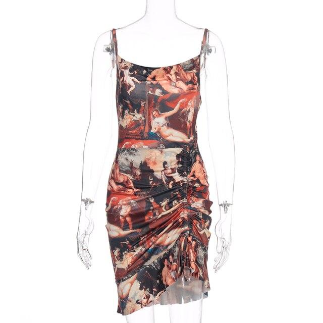 Hugcitar 2020 print sleeveless ruffles ruched sexy mini dress spring summer women fashion streetwear outfits club wear 6