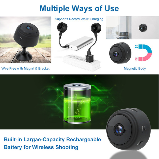 Wireless IP Camera Work On 2.4GHz WiFi Night Vision Alarm Push Built-in Magnet Easily Place Anywhere 1080P Home Security Camera 4