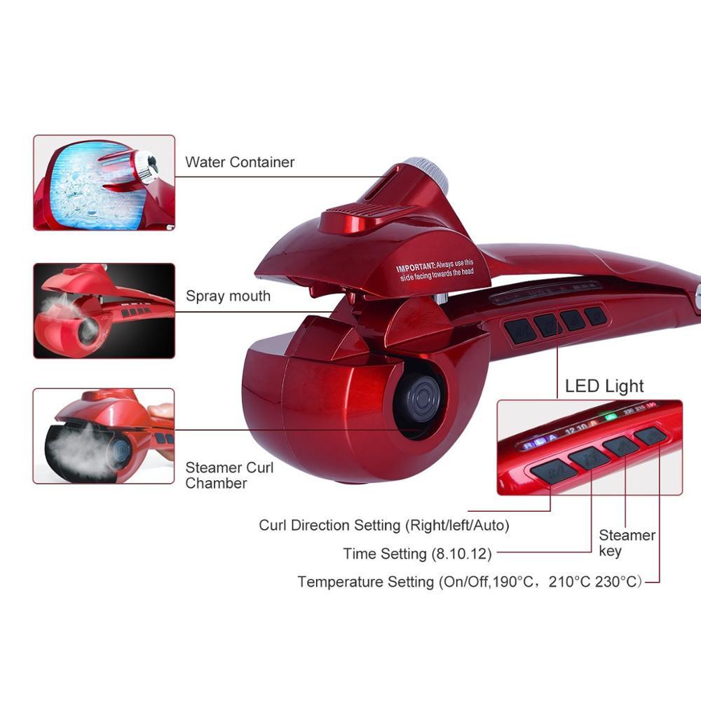 Bigoudi automatique écran LCD chauffage soins des cheveux outils de coiffure nouvelle vague de céramique cheveux Curl magique fer à friser femmes cheveux Styler - 4