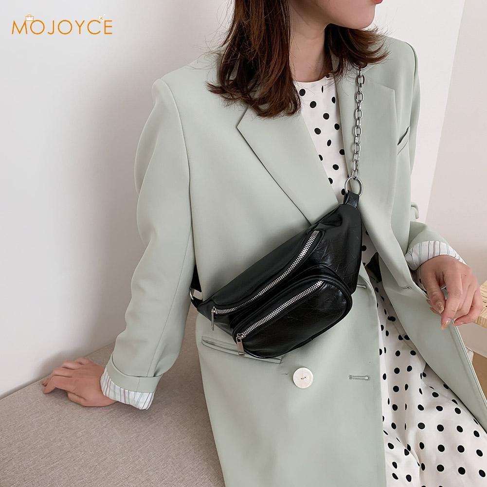 Pure Color Zipper Chest Bag Shopping Crossbody Zipper Phone Waist Pouch Pack Casual Women PU Leather Waist Bag
