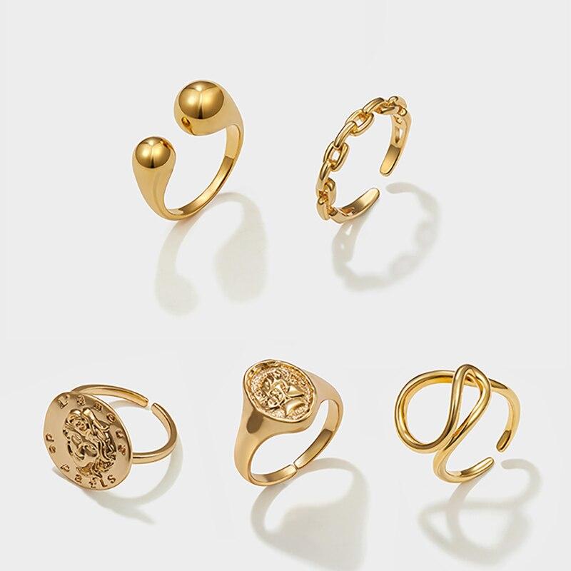 Punk Gold Gesicht Porträt Münze Offenen Ring für Frauen Vintage Einstellbare Kette Finger Ringe Geometrische Erklärung Partei Schmuck Geschenke