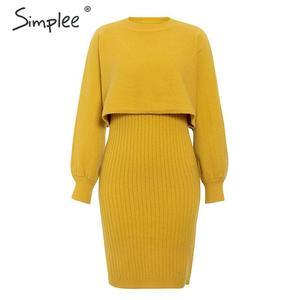 Image 5 - Simpleeエレガントな 2 個女性ニットドレスソリッドボディコンセータードレス秋冬レディースプルオーバー作業服セータースーツ