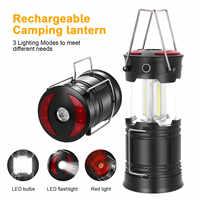 SANYI-linterna LED Mini 3 x COB, portátil, plegable, para acampada, impermeable, alimentada por 3 * AAA