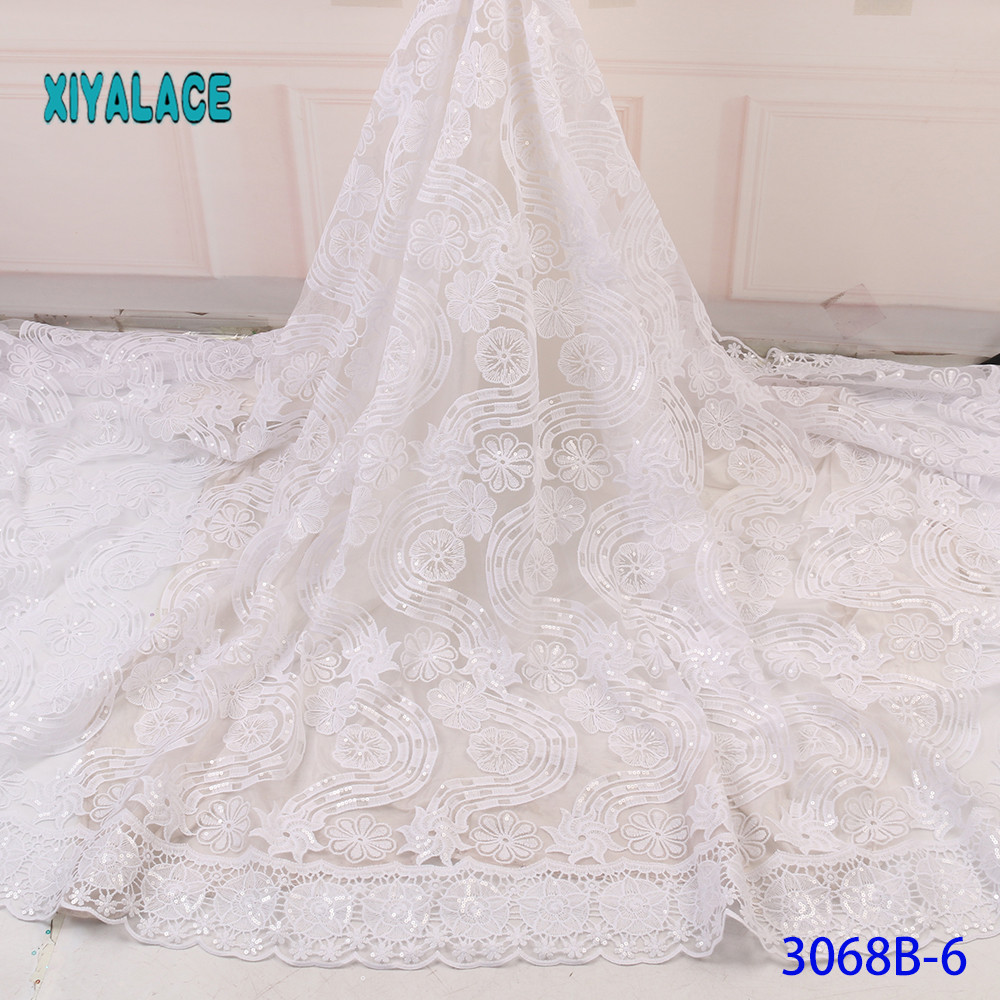 Elegant Pure White Sequins Evening African Lace Fabric Dresses Female Tassels Bridal Bridesmaid Party For Wedding Dress YA3068B6