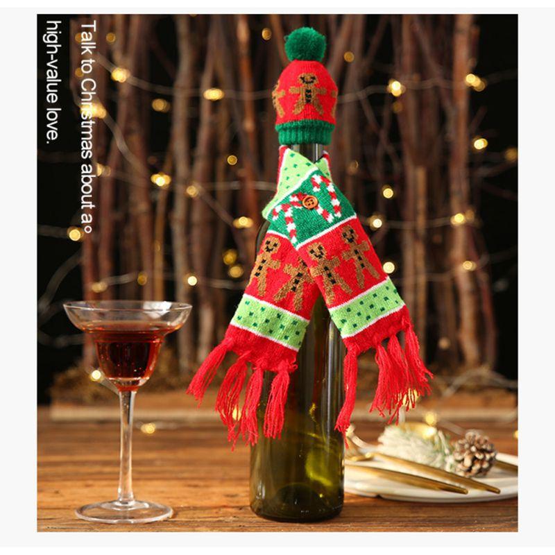 Рождественское вязаное покрытие для вина, украшение, крышка для бутылки вина, утепление, рождественские украшения для дома, Новогоднее укра... - 4
