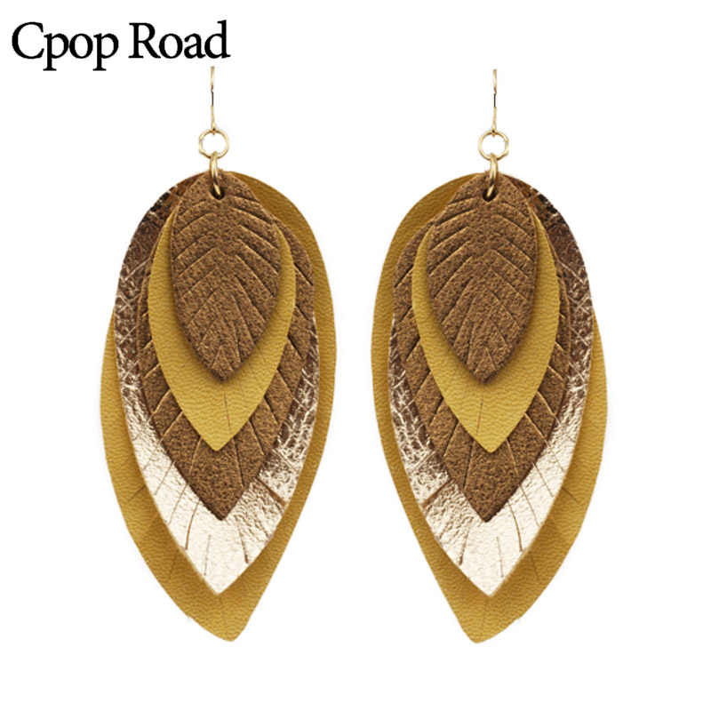 Cpop Five Layers Gold PU Leather Earrings for Women New Big Statement Dangle Leaf Earrings Fashion Jewelry Accessories Wholesale