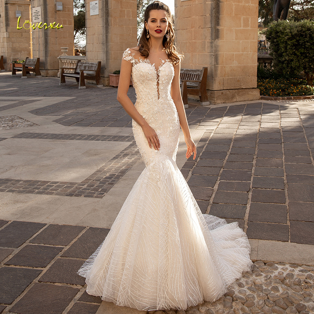 Loverxu Scoop Sequined Mermaid Wedding Dresses Elegant Applique Beading Cap Sleeve Bride Dress Court Train Bridal Gown Plus Size-in Wedding Dresses from Weddings & Events