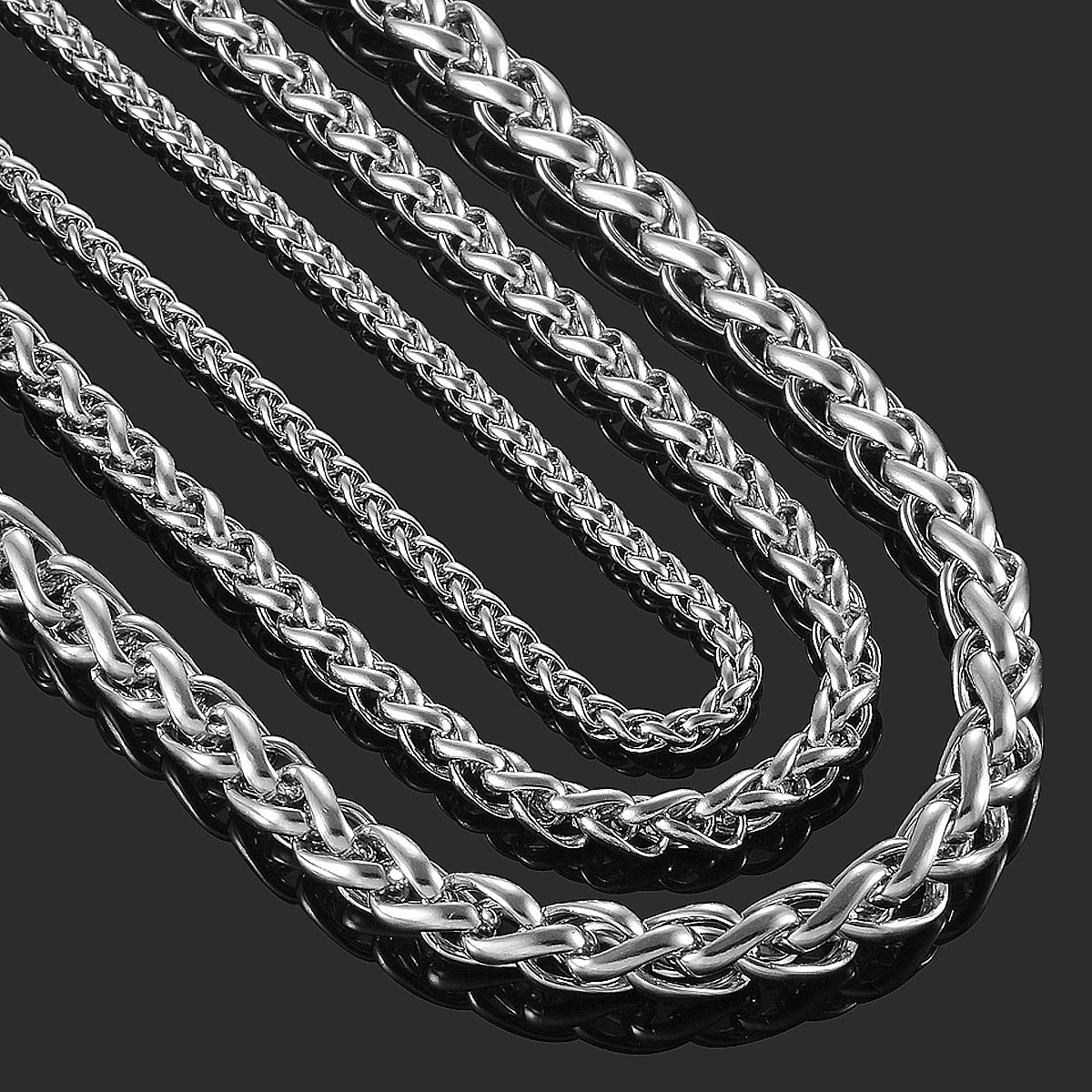 """Stylish 3//4//5//6MM 20/"""" MENS Silver Stainless Steel Wheat Braided Chain Necklace!"""