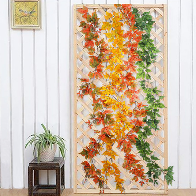 180cm Artificial Plastic Plants Ivy Maple leaf garland tree Fake Autumn leaves Rattan Hanging Vines for Wedding Home Wall Decor