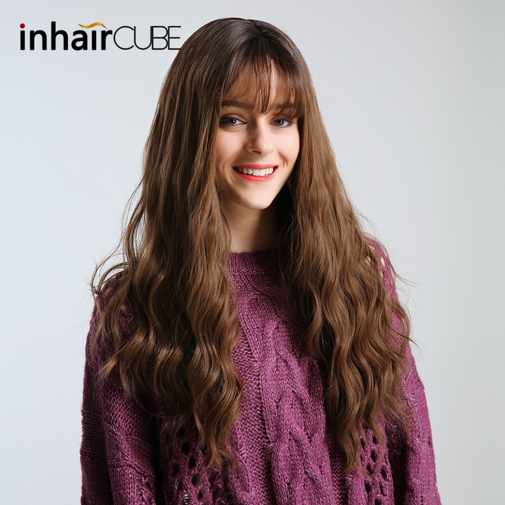 Inhaircube  Long Brown Curly Womens Wigs With Bangs Synthetic Wig Glueless Natural Hair Heat Resistant Free Shipping