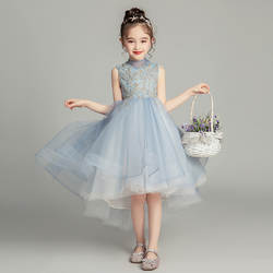 Детское платье принцессы пышная пряжа для девочек; супер Сказочный Свадебный костюм для девочек с цветочным узором; фортепиано костюм