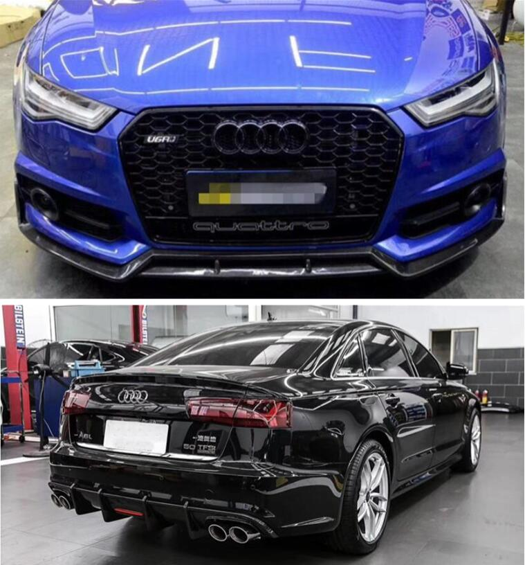 Carbon fiber Front Bumper Lip Spoiler Rear Trunk Diffuser Side Body Skirt Cover For Audi A6 S6 Sline RS6 2016 2017 2018 Year image
