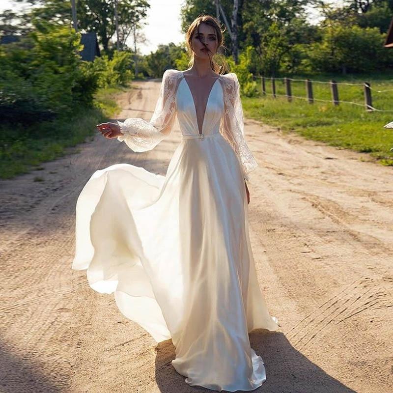 2020 Sexy Deep V Neck Lantern Long Sleeve Ladies Evening Dress Floor Length Satin Evening Gown Robe Soiree Mariage