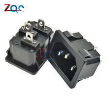 250VAC 10A AC Power Socket C14 Inlet Soket Listrik Konektor Plug Industrial Socket Plug IEC320 C14 3Pin Panel Power socket(China)