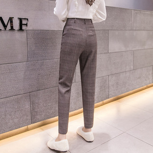 Image 2 - S 2xl סתיו החורף משובץ צמר הרמון מכנסיים נשי 2020 קרסול אורך גבוהה מותן מכנסיים הרמון מכנסיים נשים בתוספת מכנסיים נשים