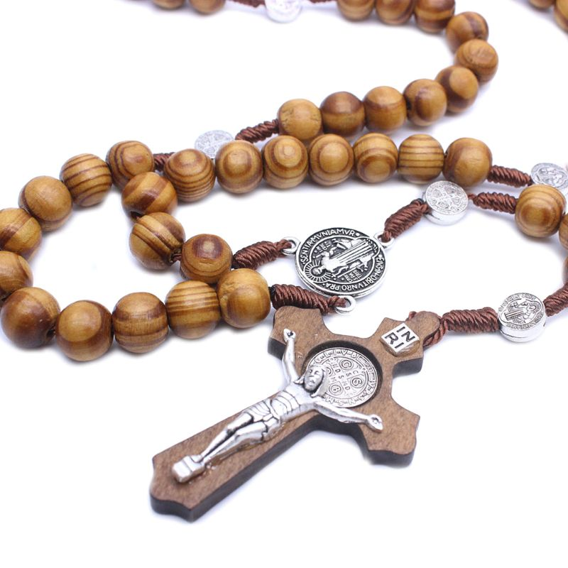Fashion Handmade Round Bead Catholic Rosary Cross Religious Wood Beads Men Necklace Charm Gift Q9QA