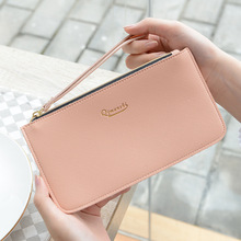 2019 new Korean coin purse womens long hand bag pu leather thin wallet simple