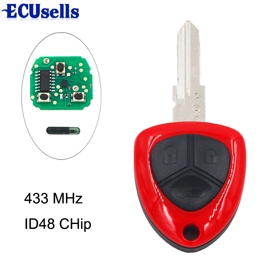 3 Button Smart Key Remote Fob Key for FERRARI F430 433MHZ ID48 Chip Left Blade