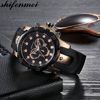 Shifenmei relógio masculino militar relógio de quartzo relógios dos homens marca superior luxo silicone esportes relógio de pulso data relogio masculino