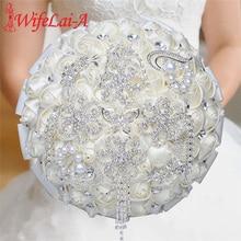 WifeLai-A Rhinestones Holding Flowers Wedding Flowers Bridal Bouquets Ivory Ribbon Brooch Bouquet Wedding Diamond Bouquet W2285