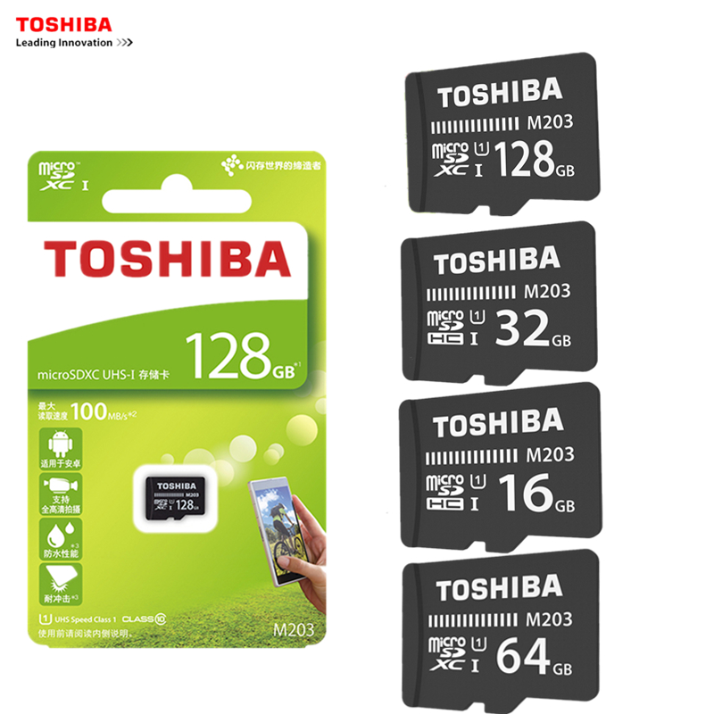 TOSHIBA 5PCS/LOT Micro SD Card M203 Class10 16GB 32GB 64GB 128GB Memory Card 100MB/S TF Card SDHC SDXC UHS-I TF Card For Phone