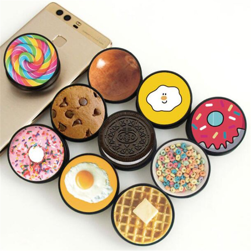 Foods Cookies Expanding Stand Grip Mount Phone Socket Fold Mobile Smartphones Pocket Desktop Stand Bracket Phone Stand Holder