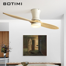 BOTIMI Nordic 220V  LED Ceiling Fan With Remote Control For Low 2 Wooden Blades fan Lamp Decor Vantilator