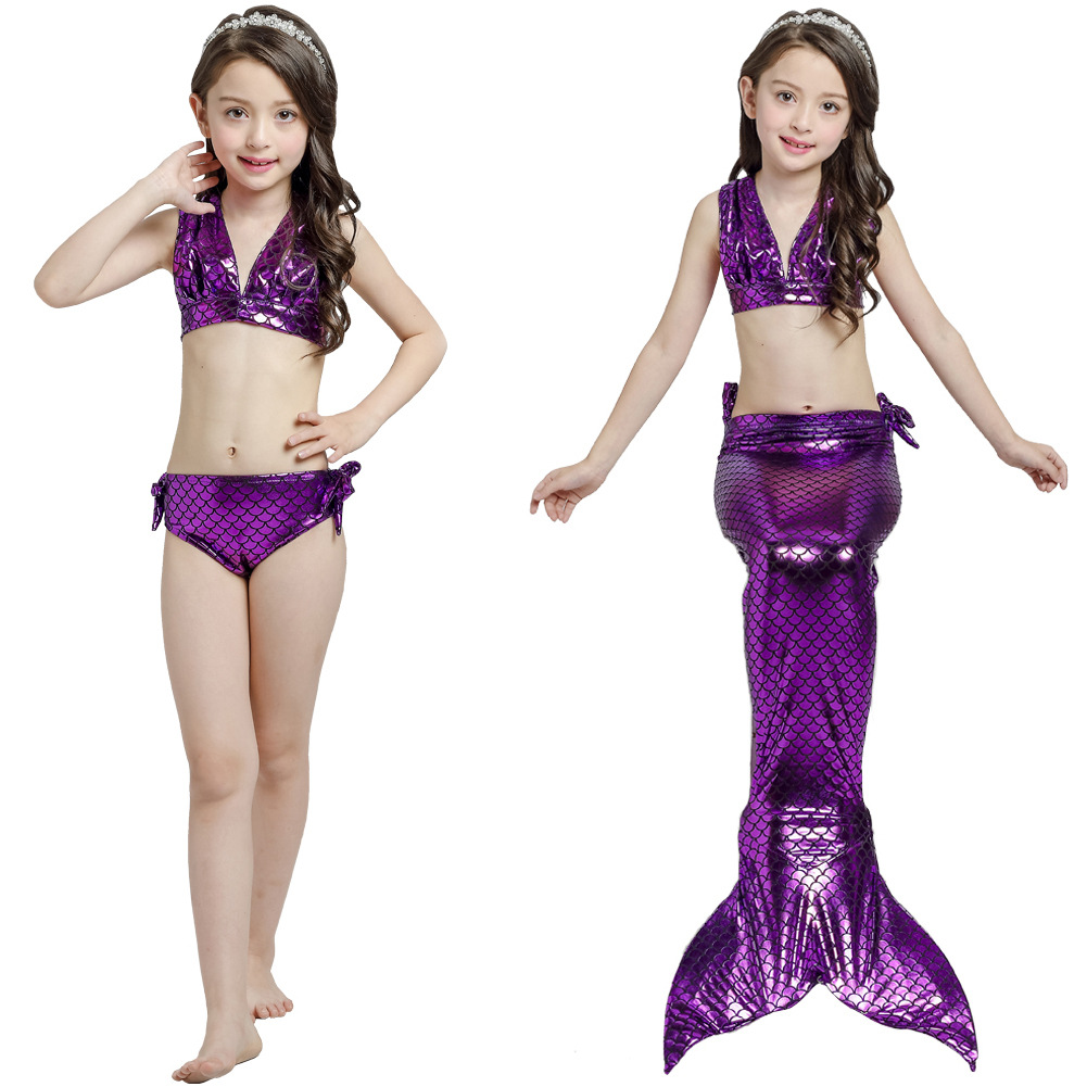 KID'S Swimwear GIRL'S Bikini Mermaid Three-piece Set Mermaid Swimsuit Childrenswear