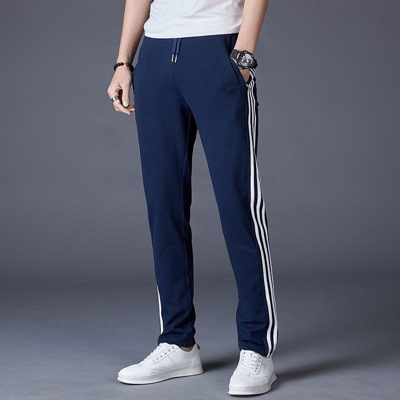 2019 New Style MEN'S Sports Pants Straight-Cut Loose Casual Pants Cotton Three Bars Large Size Students Sports Long Pants