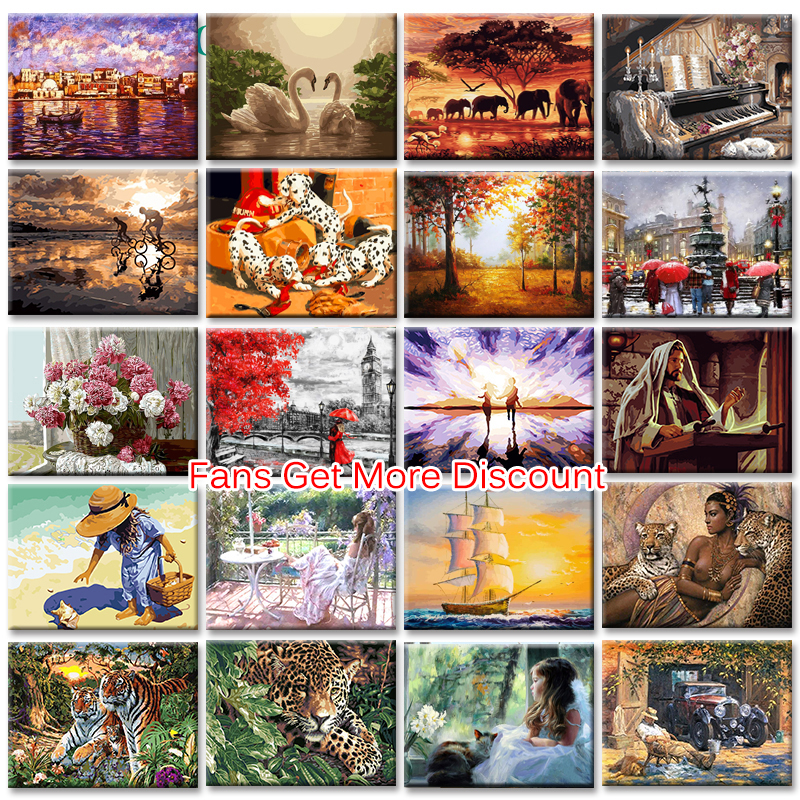 GATYZTORY Painting By Numbers 40x50cm Frameless Digital Painitng On Canvas Pictures By Numbers DIY Figure Animals Landscape Gift
