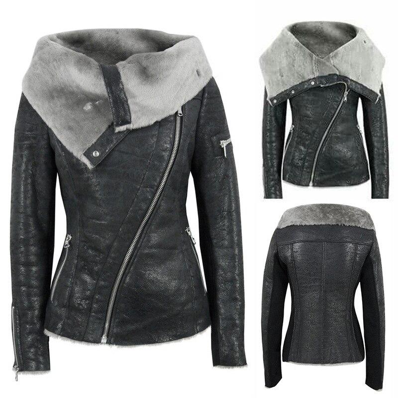 Lugentolo Women   Leather   Jacket with Fur Collar New Jacket Plus Velvet Hair Asymmetrical Zipper Short PU Ladies Motorcycle Jacket