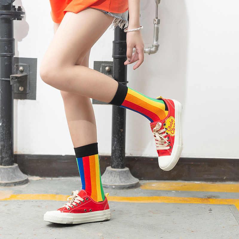 Vrouwen Sokken Herfst En Winter Nieuwe Sokken Hip-Hop Straat Skate Tij Sokken Ins Regenboog Paar In Buis Katoen sokken Midden Tube