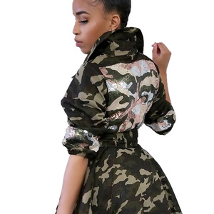 Image 4 - Autumn and Winter Women Jacket Camo Printing Women Clothes with Pearl Lapel Decor Thin Waist Multi bag Mid long Coat for Women