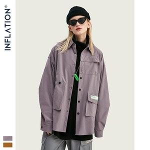 Image 5 - INFLATION DESIGN koszula męska luźny krój z długim rękawem koszula męska Solid Color z Grandad Collar Streetwear Oversized koszula męska 92153