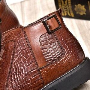 Image 5 - جديد الشتاء موضة التمساح نمط الرجال حقيقية جلد البقر الأحذية عالية الجودة سوبر الدافئة الذكور الشتاء أحذية مقاوم للماء الثلوج الأحذية
